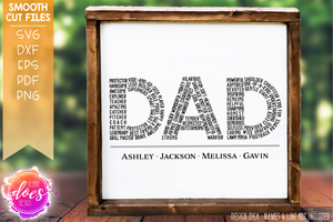 Dad Word Collage - Dad Word Art - SVG File
