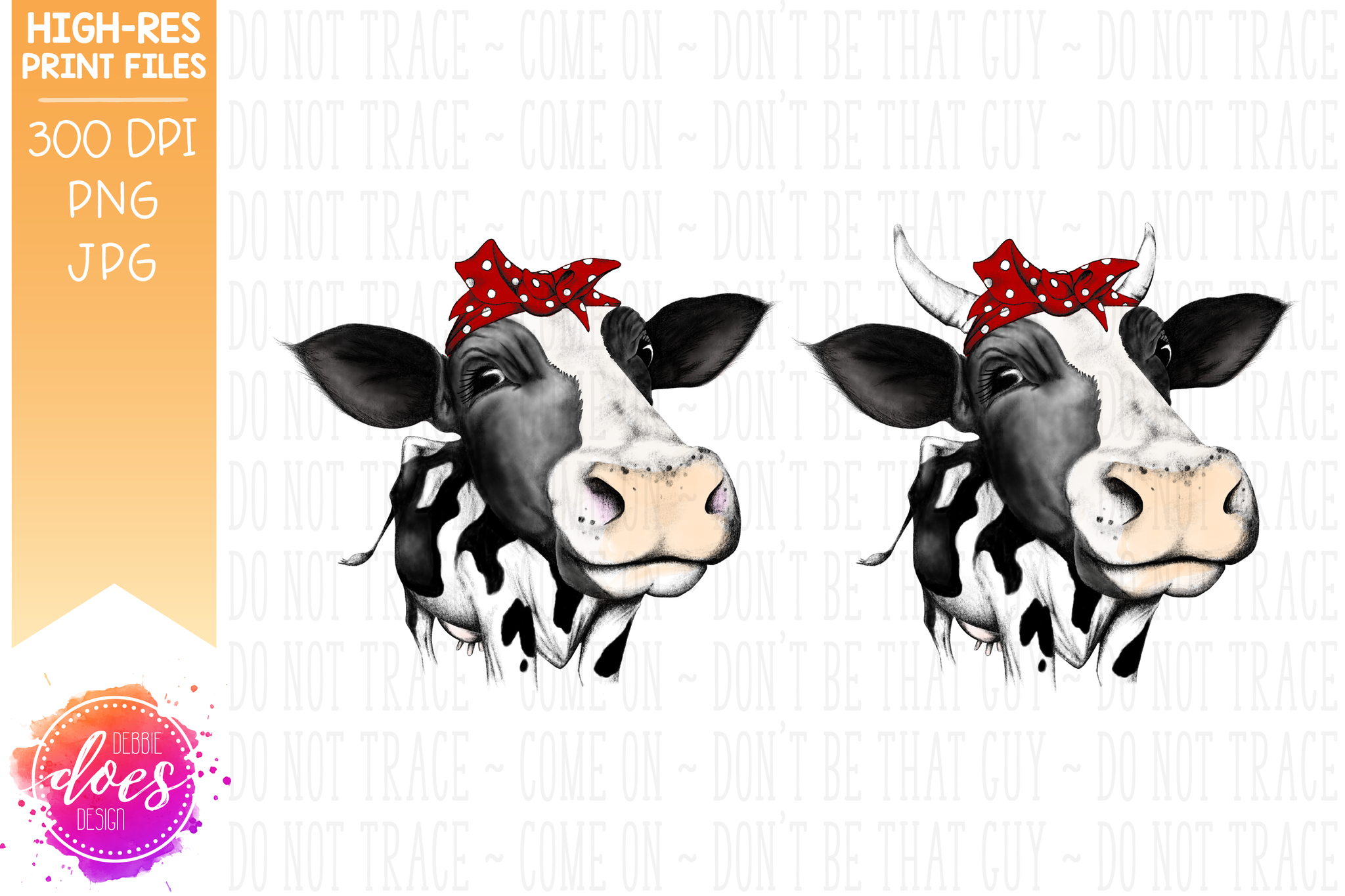 Hand Drawn Dairy Cow with Bandana Print - Printable/Sublimation File