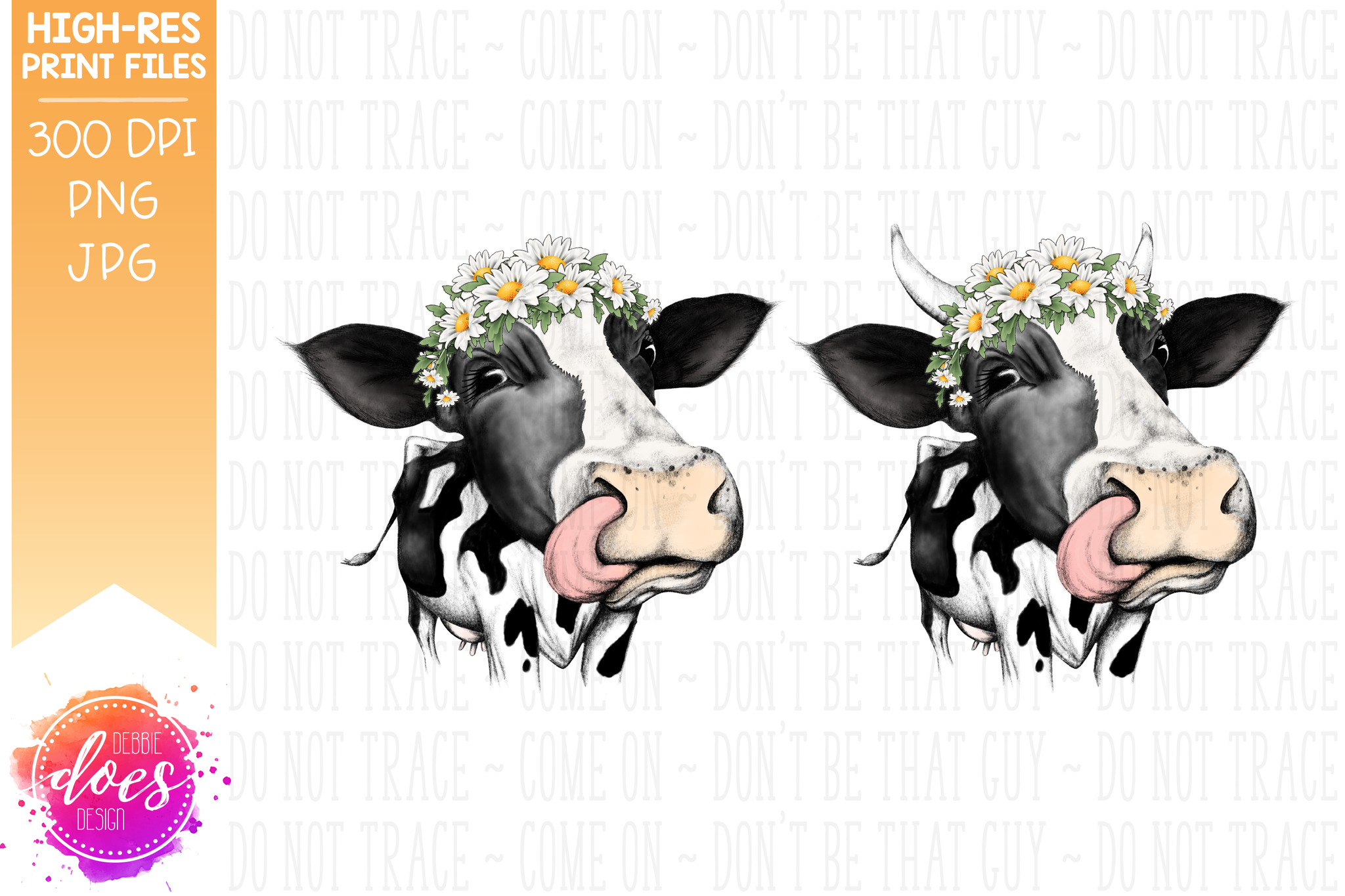 Hand Drawn Dairy Cow with Daisies and Tongue Print - Printable/Sublimation File