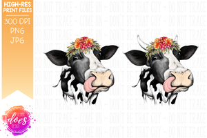 Hand Drawn Dairy Cow with Colorful Flowers and Tongue Print - Printable/Sublimation File