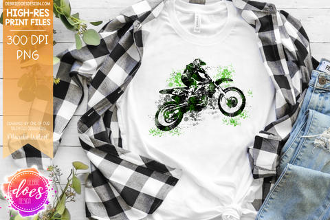 Dirty Moto Dirtbike - Green - Sublimation/Printable Design