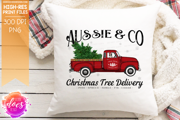 Aussie - Dog Christmas Tree Delivery Truck  - Sublimation/Printable Design