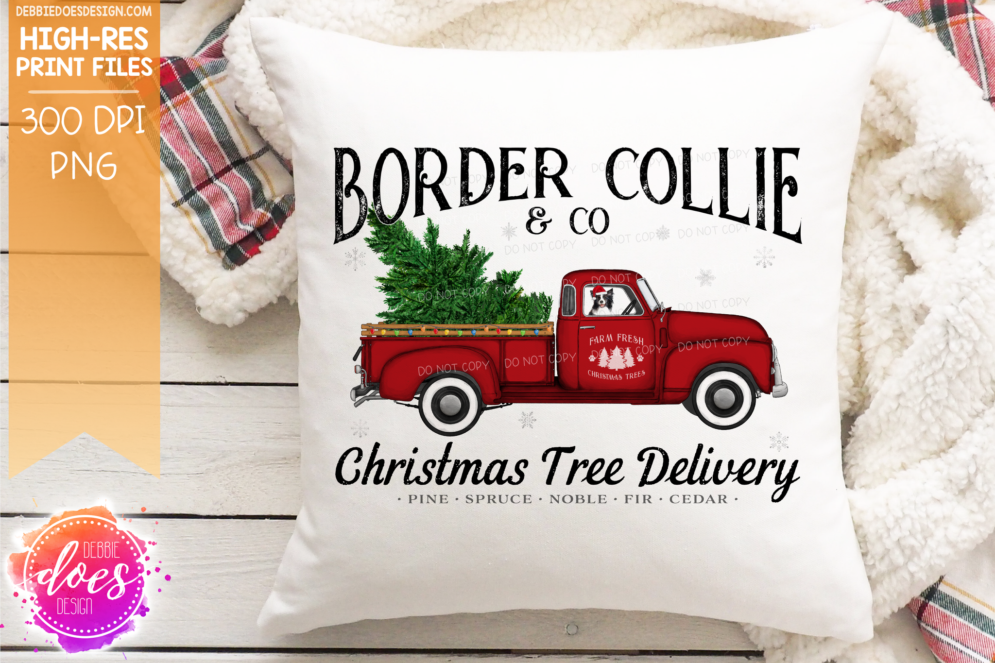Border Collie - Dog Christmas Tree Delivery Truck  - Sublimation/Printable Design