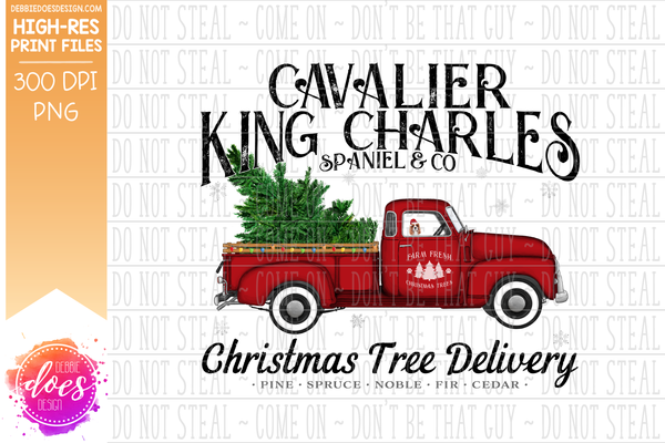 Cavalier King Charles Spaniel - Dog Christmas Tree Delivery Truck  - Sublimation/Printable Design