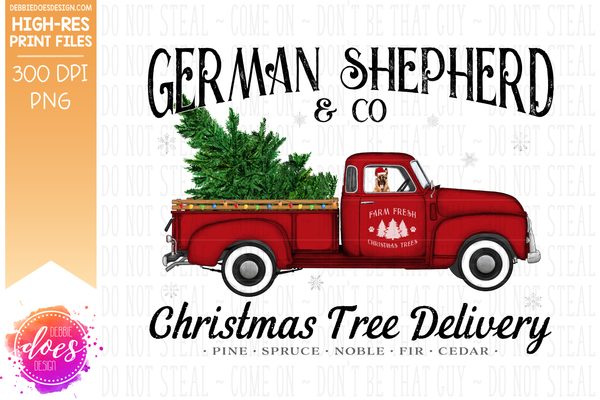 German Shepherd - Dog Christmas Tree Delivery Truck  - Sublimation/Printable Design