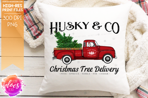 Husky - Dog Christmas Tree Delivery Truck  - Sublimation/Printable Design