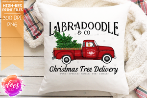 Golden Labradoodle - Dog Christmas Tree Delivery Truck  - Sublimation/Printable Design