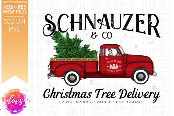 Schnauzer - Dog Christmas Tree Delivery Truck  - Sublimation/Printable Design