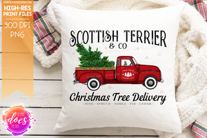 Scottish Terrier - Dog Christmas Tree Delivery Truck  - Sublimation/Printable Design