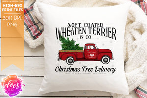 Wheaten Terrier - Dog Christmas Tree Delivery Truck  - Sublimation/Printable Design