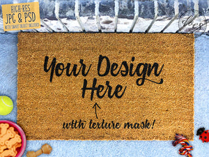 Dog Lovers Coir Doormat Mockup with Smart Object