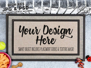 Dog Lovers Grey Doormat Mockup with Smart Object