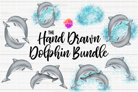 The Hand Drawn Dolphin Bundle - Includes 8 files! - Sublimation/Printable Design