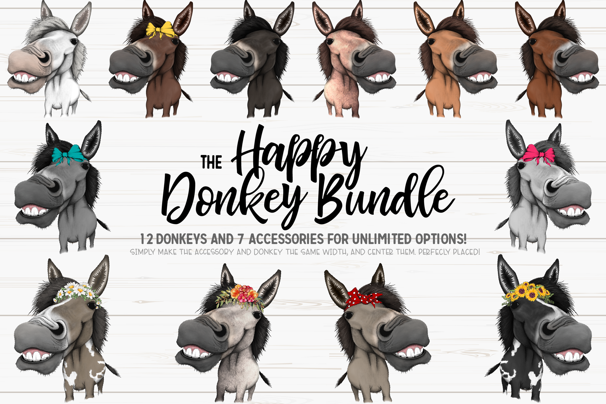 The Happy Hand Drawn Donkey Bundle - Sublimation/Printable Designs
