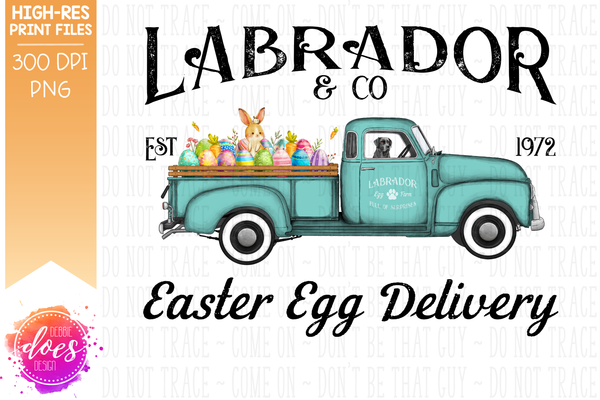 Black Lab - Dog Easter Egg Delivery Truck  - Sublimation/Printable Design