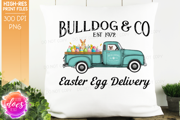 Bulldog - Dog Easter Egg Delivery Truck  - Sublimation/Printable Design