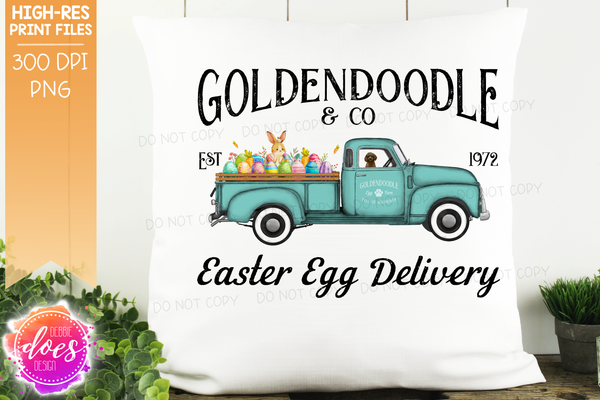 Goldendoodle - Brown - Dog Easter Egg Delivery Truck  - Sublimation/Printable Design