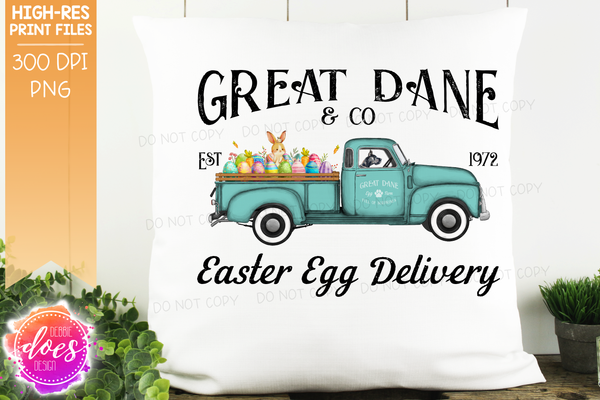 Great Dane - Dog Easter Egg Delivery Truck  - Sublimation/Printable Design