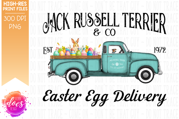Jack Russell Terrier - Dog Easter Egg Delivery Truck  - Sublimation/Printable Design