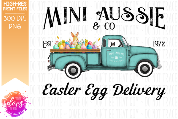 Mini Aussie - Dog Easter Egg Delivery Truck  - Sublimation/Printable Design