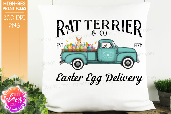 Rat Terrier - Dog Easter Egg Delivery Truck  - Sublimation/Printable Design