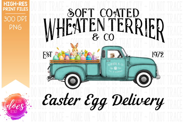 Wheaten Terrier - Dog Easter Egg Delivery Truck  - Sublimation/Printable Design