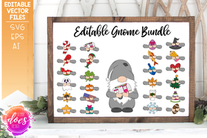 Editable Gnome Bundle - Editable Vector Designs