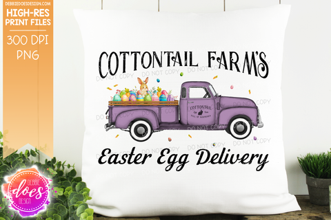 Cottontail Farms Easter Egg Delivery Truck - Purple - Sublimation/Printable Design