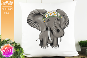 Hand Drawn Elephant with Daisies - Sublimation/Printable Design