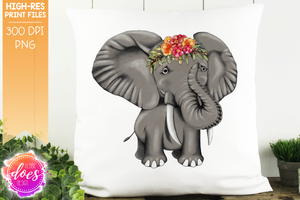 Hand Drawn Elephant with Colorful Flowers - Sublimation/Printable Design