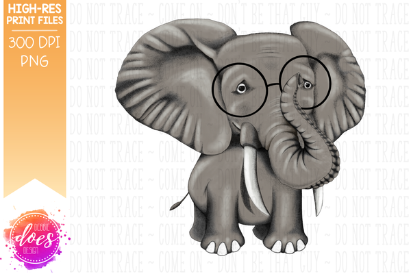 Hand Drawn Elephant with Glasses - Sublimation/Printable Design