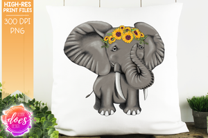 Hand Drawn Elephant with Sunflowers - Sublimation/Printable Design