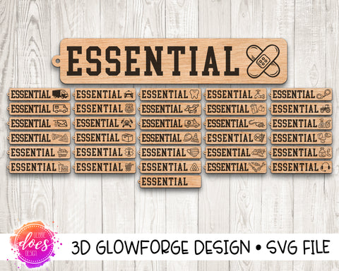 Essential Workers - Keychains or Pins - 32 Designs! - Glowforge Designs