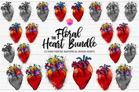 The Floral Heart Bundle - Includes 22 files! - Sublimation/Printable Design