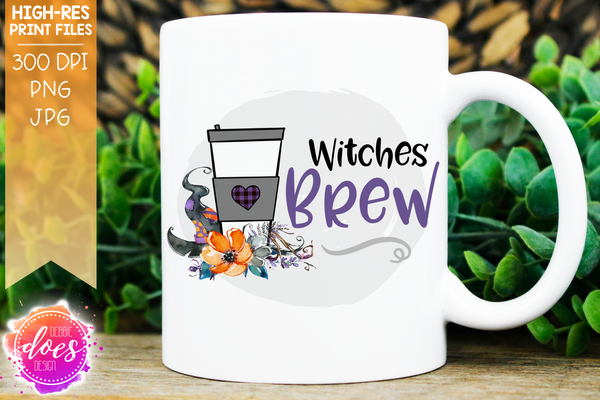 Witches Brew - 2 Floral Coffee Designs - Sublimation/Printable Designs