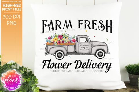 Farm Fresh Flower Delivery Truck - Grey - Sublimation/Printable Design