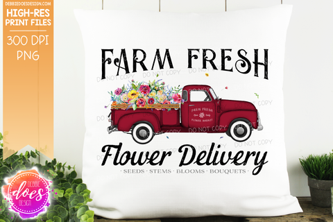 Farm Fresh Flower Delivery Truck - Red - Sublimation/Printable Design