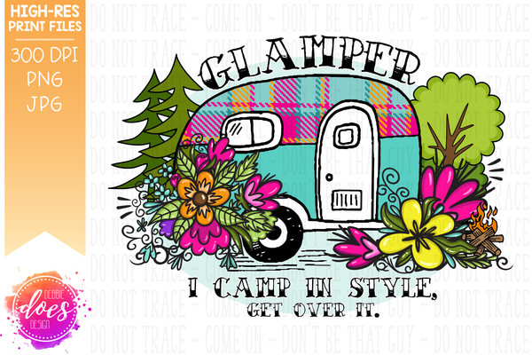 Glamper - Flower Camper - Sublimation/Printable Design