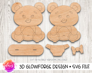 Freestanding Dress Up Teddy Bear Kit - Glowforge Design