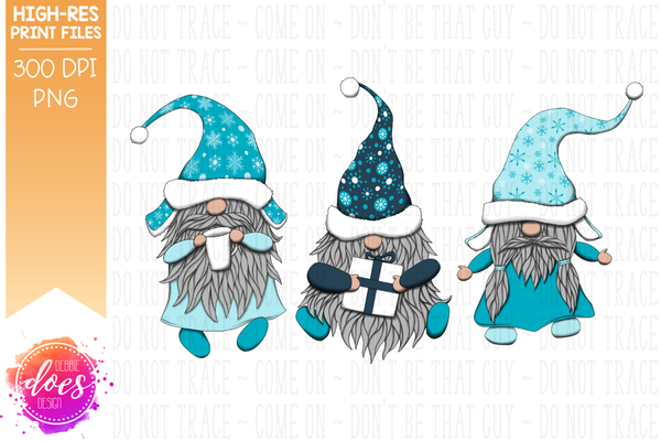 Christmas Gnomes - Blue Snowflakes  - Sublimation/Printable Design
