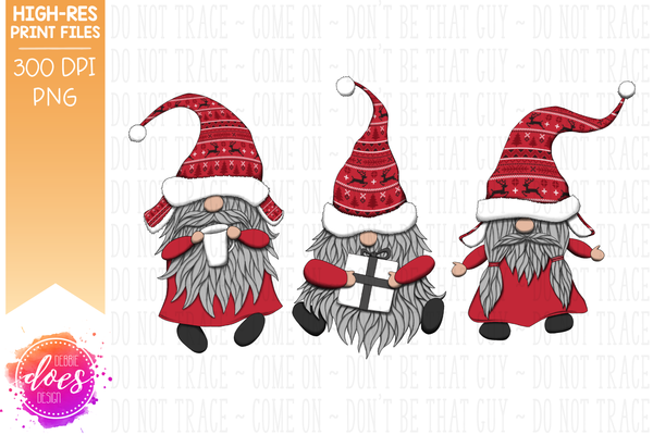 Christmas Gnomes - Red Knit Sweaters - Sublimation/Printable Design