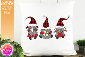 Christmas Gnomes - Red Plaid - Sublimation/Printable Design