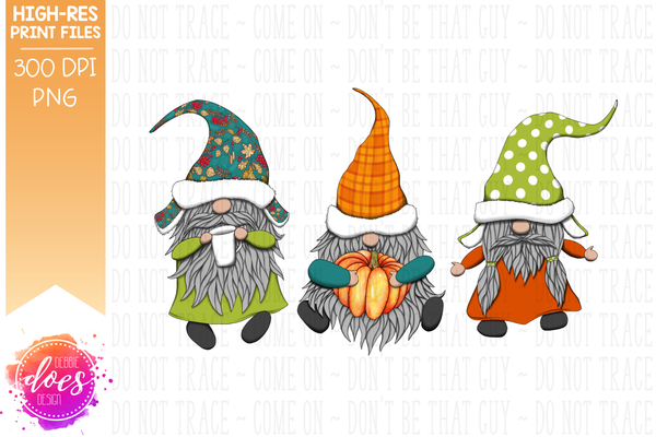 Teal Fall Gnomes  - Sublimation/Printable Design