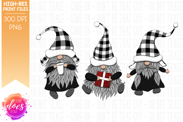 Christmas Gnomes - White Plaid - Sublimation/Printable Design