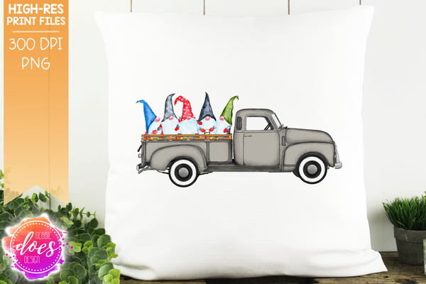 Christmas Gnomes Truck - Grey - Sublimation/Printable Design