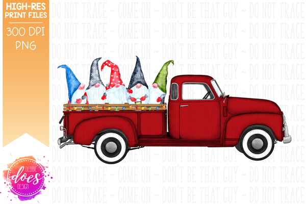 Christmas Gnomes Truck - Red - Sublimation/Printable Design