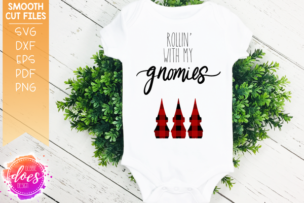 Rollin' with my Gnomies - Buffalo Plaid - SVG File | Printable | Sublimation