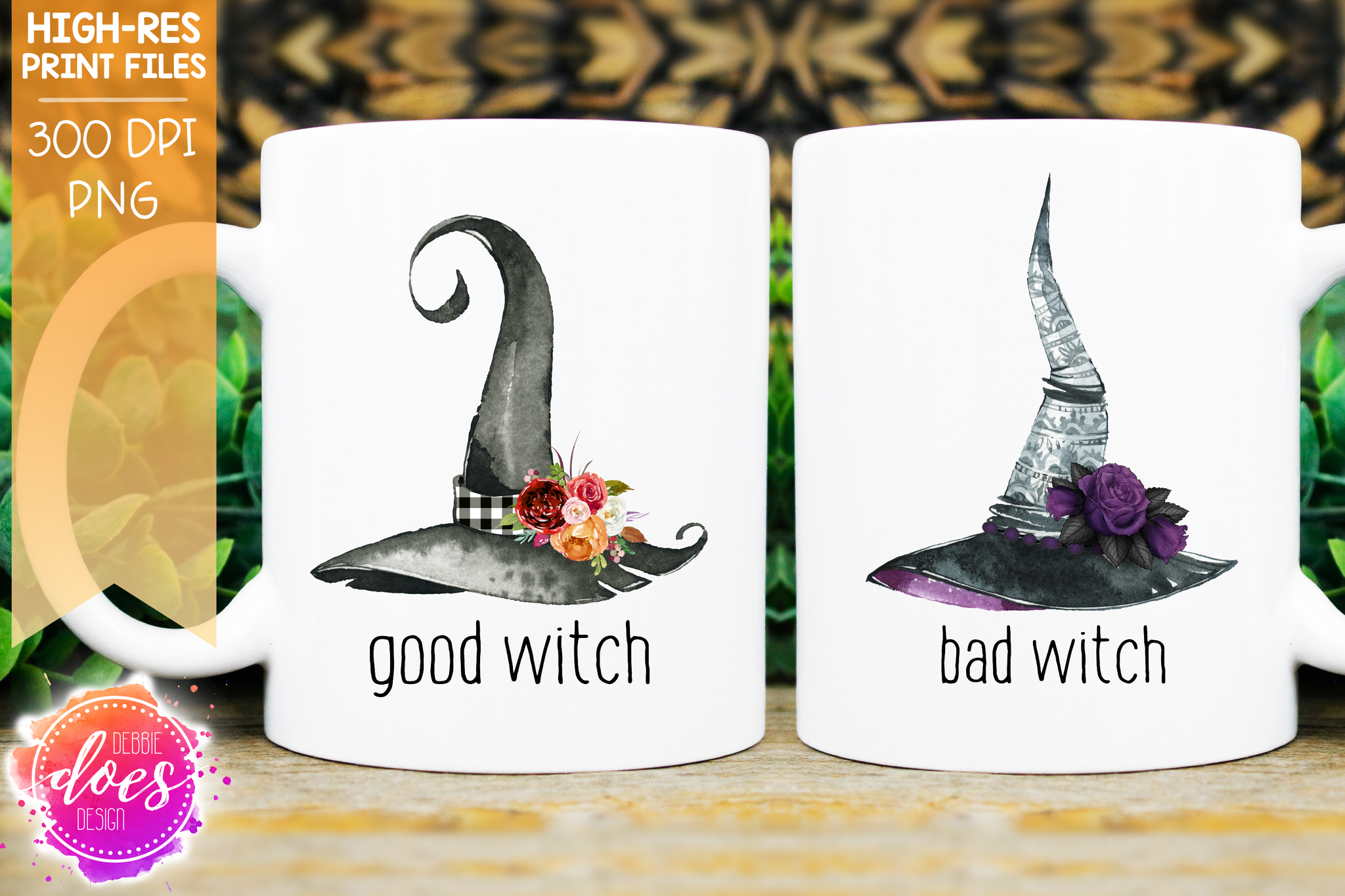 Good Witch/Bad Witch - Witches Hat Set - Printable/Sublimation File