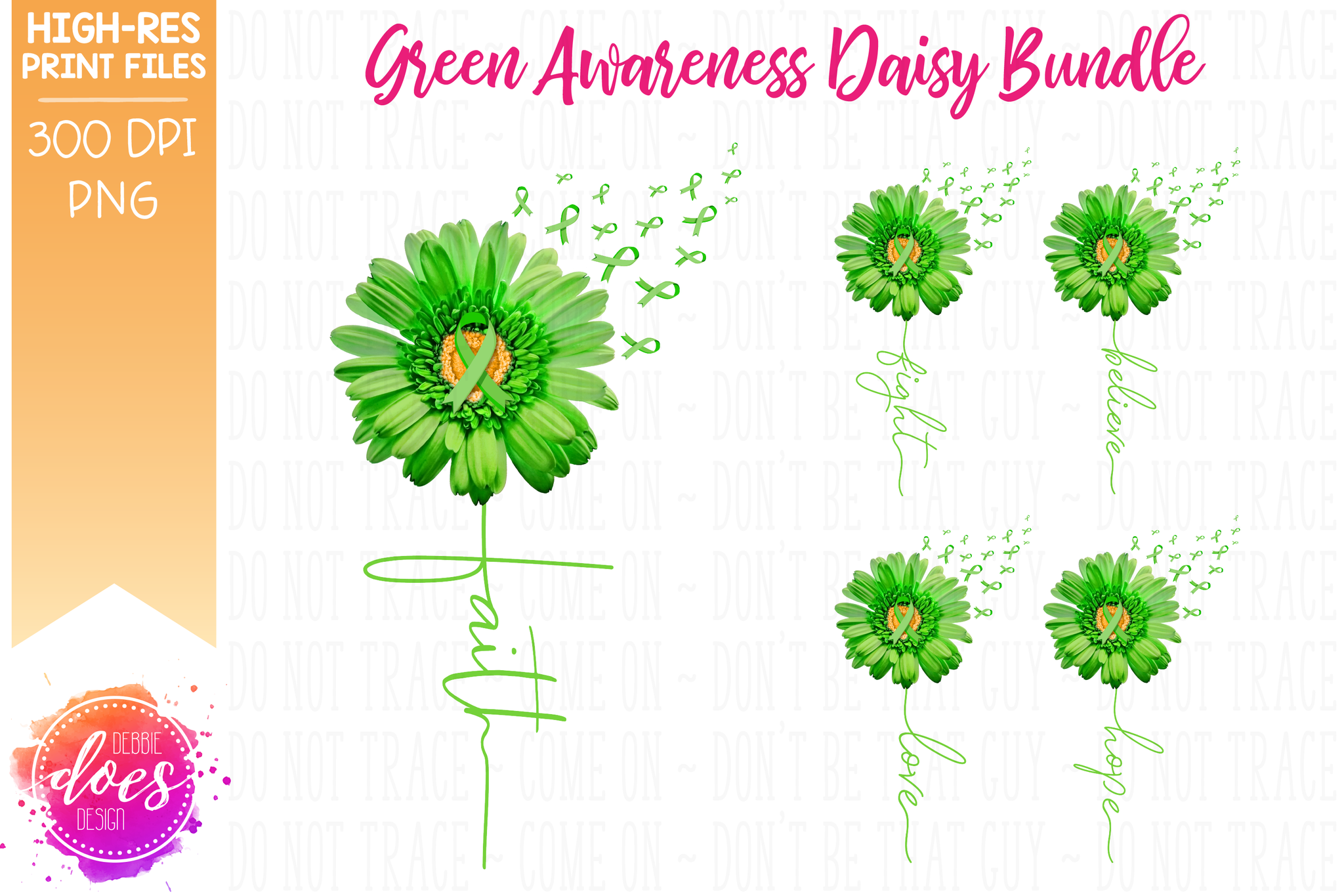 Green Awareness Daisy Bundle - Includes 5 Designs! - Printable/Sublimation File