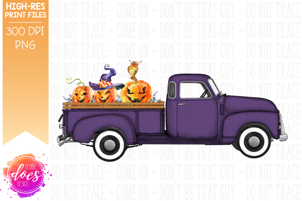 Halloween Truck - Purple - Sublimation/Printable Design